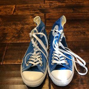 Blue Converse High Tops Unisex Sz Womens 9/Mens 7